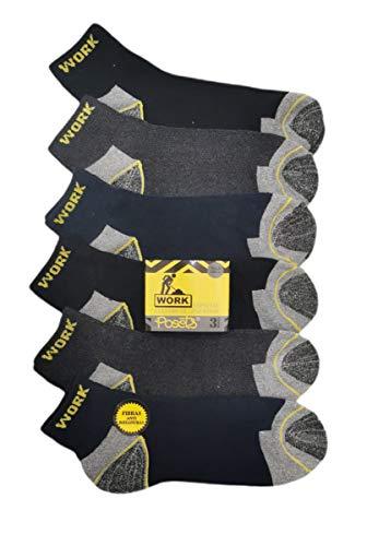Pack de 12 pares - Calcetines de trabajo tobilleros cortos para hombre reforzados en talón y punta