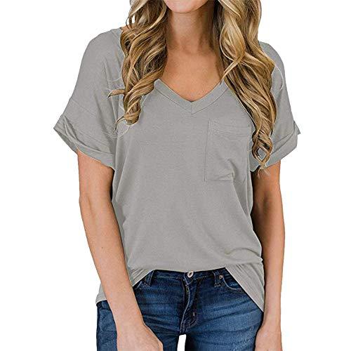 PRJN Tops Casuales de Verano para Mujer Blusa con Cuello en V Camiseta de Color sólido Camiseta de Manga Larga con Cuello en V para Mujer Camiseta de Color sólido Top Blusa Informal Camiseta Mujer