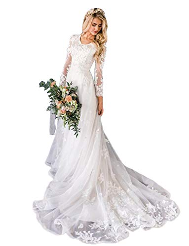 Women's Bohemian Wedding Dresses Scoop Neck A Line Lace Bridal Gown Bead Pearls with Long Sleeve White-US 16