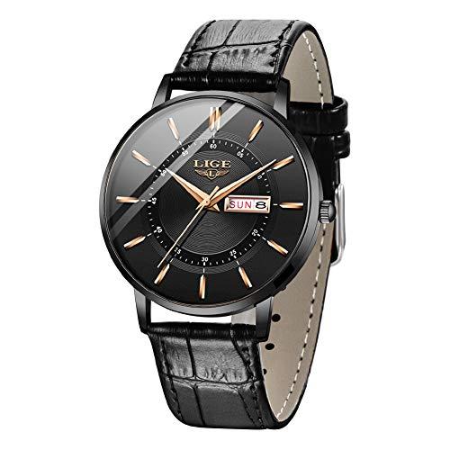 LIGE Herrenuhren Ultradünne Sport wasserdichte Analoge Quarz Datum Armbanduhr Einfache Lässige Echte Leder Armbanduhren für Herren