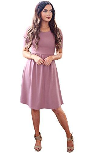 Mikarose Natalie Modest Dress In Burgundy Crepe, Modest Bridesmaid Dress In Dark Red or Burgundy - L