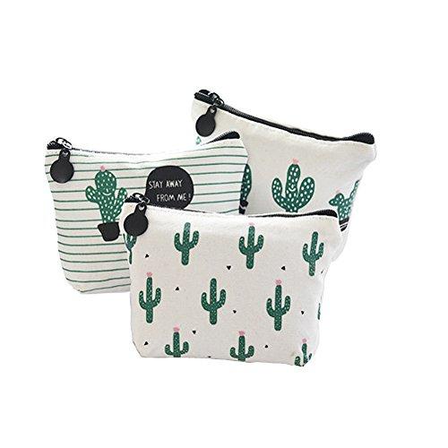 Fablcrew 3 Stück Geldbörsen Brieftasche Schlüsselmäppchen Make-Up Taschen Weibliche Mehrzweckmappe Weiß Baumwollstoff Reißverschluss-Design Kaktus-Muster 12 * 8,5 * 3,3 cm