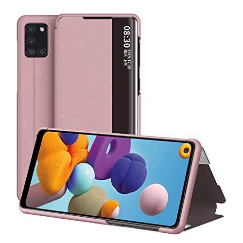 Galaxy A21S Hülle, Midcas Klapphüllen mit Sichtfenster Smart View Leder Tasche mit Standfunktion Schutzhülle für Samsung Galaxy A21S Roségold