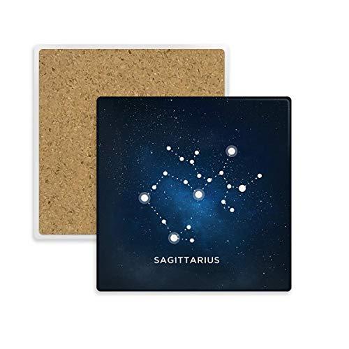 Schütze Sternbild Sternzeichen quadratisch Untersetzer Cup Becher Halter saugfähig Stein für Getränke 2Geschenk