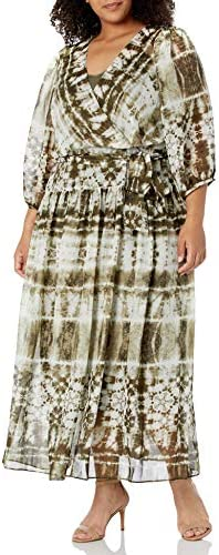 Calvin Klein Women s Size Long Sleeve Maxi Dress with Faux Wrap Caper Multi 14 Plus product image