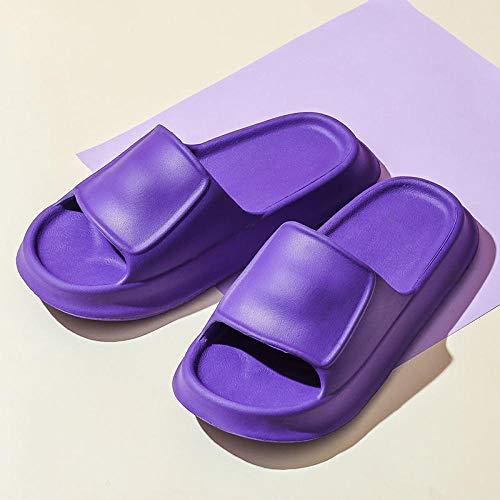 HUSHUI Antideslizantes Chanclas y Sandalias,Zapatillas de baño Antideslizantes, Sandalias Gruesas de Fondo Suave-Violeta_38-39,Bañarse Chanclas de Casa Suave Zapatos