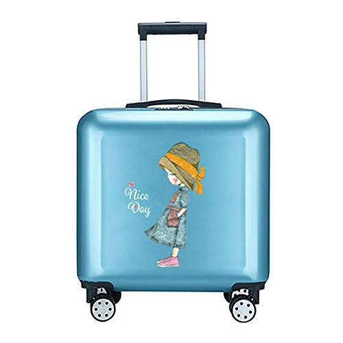 Carry on Luggage,Kids Luggage with Wheels Lightweight Personalized Upright Hardshell Travel Suitcase 18In Rolling Side Trolley with Trolley Best Gifts for Girls Women-For Travel School Business Trip,B
