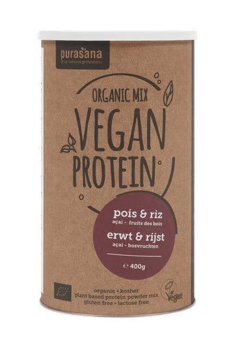 Purasana - Poudre de protéine de mélange - pois & riz - açai fruits des bois - 400g - Qualité premium 100% Bio Protein Mix