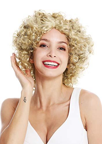 WIG ME UP - DH1101-ZA89 Perücke Damen Karneval Fasching Funky 60er 70er Funk Afro Locken Mittelscheitel Blond