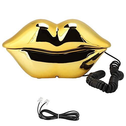 FOLOSAFENAR WX-3061 Juego de decoración del hogar Multifuncional con Forma de Labios Lindo teléfono de Escritorio, Regalo para Amigos, teléfono inalámbrico(Oro)