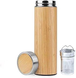 Bamboo Tea Tumbler ,D&X Vacuum Insulated Stainless Steel Travel Tea Mug ,Fruit tea , Infuser...