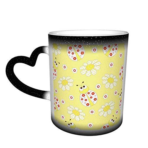 Taza con cambio de flores de mariquitas, diseño de taza de café, taza de cerámica sensible al calor, taza que cambia de color en el cielo, 11 oz