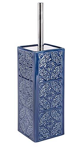 WENKO Portascopino WC Cordoba Blu, Porta Scopino Chiuso, Ceramica, 9.5 x 35 x 9.5 cm, Blu