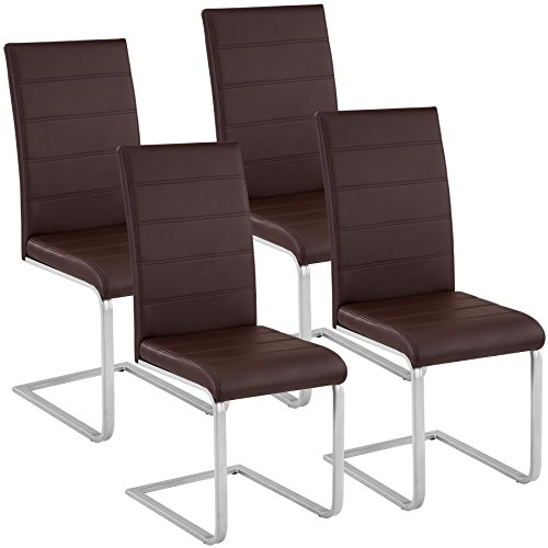 TecTake Esszimmerstühle Schwingstuhl Set | Kunstleder - Diverse Farben - (4er Set braun | Nr. 402556)
