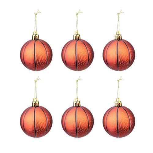 Toyvian addobbi natalizi pallacanestro albero di natale palla appesa palline pallacanestro ornamenti per albero di natale sport party decor 6 pezzi (pallacanestro)