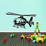 Vkjrro Pequeño helicóptero Pegatinas de Pared de Vinilo decoración Familiar habitación de los niños calcomanías de Arte de avión Autoadhesivas 53x100 cm