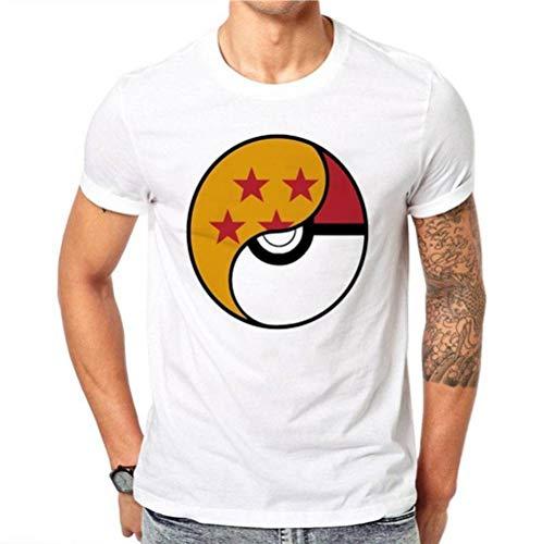 Herren Rundhals Kurzarm T-Shirt Baumwolle Casual T-Shirt Sommer Herren Kurzarm Top Fashion Print, BOSSLV, Weiß, L