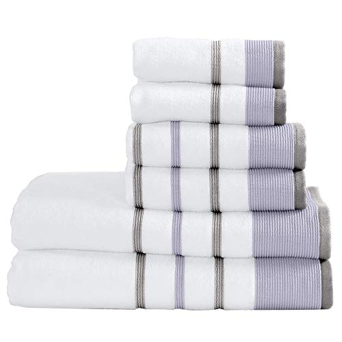 Turkish Cotton Striped 6-Piece Bath Towel Set - 2 Bath Towels, 2 Hand Towels and 2 Washcloths. Highly Absorbent Luxury Quick-Dry Towels. Noelle Collection (Lavender/Grey)