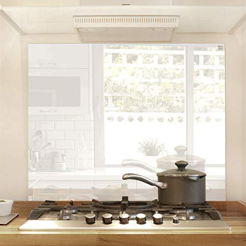 Glas Expert Küchenrückwand | 75 x 60 cm | Weiß | EVOKERAM Glass ® | Deko Spritzschutz Rückwand für Küche, Herd, Fliesen, inkl. Befestigungsmaterial