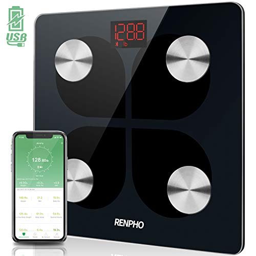 RENPHO Bluetooth Rechargeable Smart Scale Digital Weight and Body Fat USB Weight BMI Scale, Body Composition Monitor with Smartphone App, 396 lbs