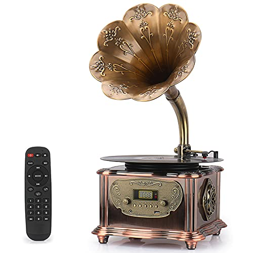Phonograph Turntable Wireless Speaker, with Aux-in, FM Radio, USB Port for Flash Drive, Aluminum Gramophone Vintage Retro Style (Bronze)
