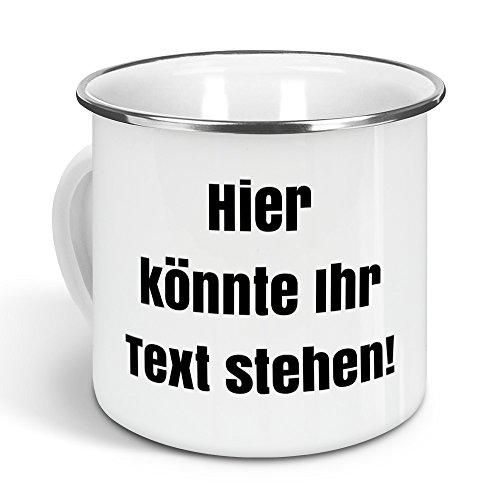 printplanet - Emaille-Tasse mit eigenem Text Bedrucken Lassen - Blechtasse Personalisieren – Nostalgie-Becher mit eigenem Spruch, Farbe Silber, 300ml