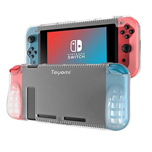 Teyomi Funda Nintendo Switch, Carcasa Protectora de Silicona para Nintendo Switch con 2 Ranuras de Almacenamiento para Tarjetas de Juego Absorción de Choque y Antiarañazos