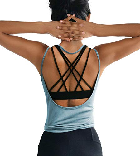 ZJCT Womens Summer Backless Top Sexy Workout Shirts Open Back Yoga Tops Activewear Running Sports Gym Cute Muscle Tank Tops Blue S