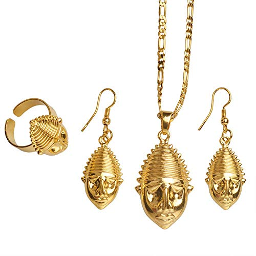 NCDFH Papua Guinea Gold Color Mask t Necklaces Ring Earrings for Woman Jewelry Ethnic Design Gifts #J0117 Resizable 60cm by 3mm Chain