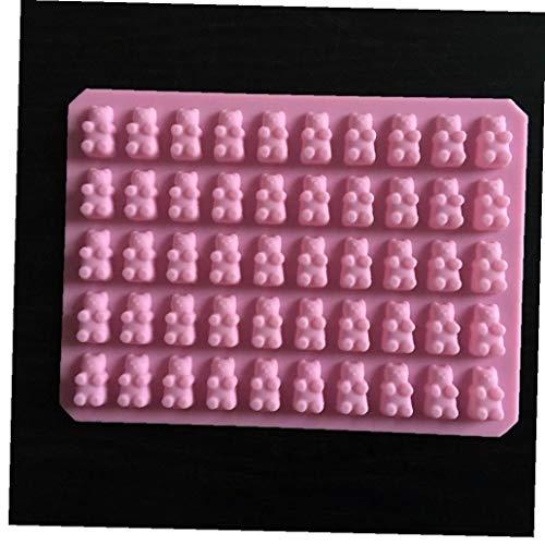 BYFRI 50 Cavidad del Molde del Silicón del Cubo De Hielo Bandejas Moldes De Osos De Gominola para Bricolaje Jalea del De Chocolate Dulce, Verde