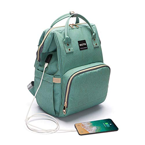 Baby Diaper Bag Backpack,NUTK Multi-Function Nappy Bags,Large Capacity Backpack with USB Charging Port for Mom,Green