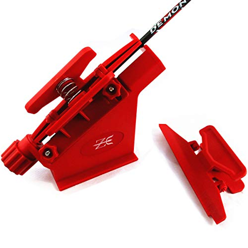 Letszhu Fletching Jig Vane Bonding Tool with Right Straight and Helical Clamps for DIY Archery Arrows (RED)