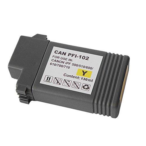 XOYA キャノン CANON PFI-102 互換インクカートリッジ イエロー 1個 iPF シリーズ対応 対応機種: imagePROGRAF iPF500 iPF655 iPF700 iPF710 iPF720 iPF750 iPF755 iPF760 iPF765 iPF510 iPF510plus iPF600 iPF605 iPF605Lplus iPF610 iPF610plus iPF650