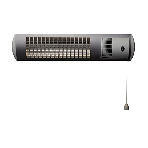 XIMAX Infrarotstrahler Terrassenheizung Heizstrahler mit Ventilator IP24, Silber/Grau, 1800 Watt, 42023 - 2