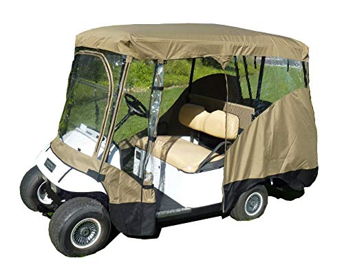 """Formosa Covers Premium Tight Weave Golf Cart Driving Enclosure New YKK Door Zipper for 4 Passenger roof up to 80"""" L, fits Club car, EZGo and Yamaha G Model - All Weather"""