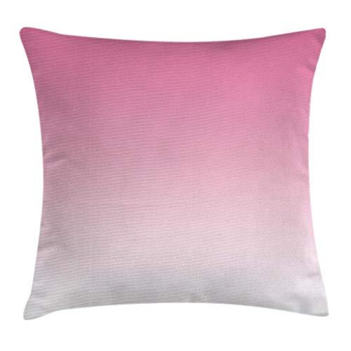 Ombre - Funda de cojín para cojín, diseño de cascada, color rosa pálido, de algodón, inspirado en caramelos, impresión digital moderna, obra de arte para niñas, 45,7 x 45,7 cm, color blanco y rosa