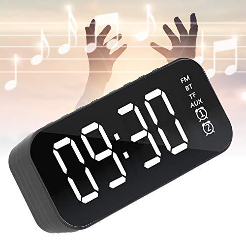 Limouyin Mini Altavoz portátil con Reloj Despertador, Altavoz Bluetooth inalámbrico FM (Negro), micrófono Incorporado, batería supergrande de 1200 mAh con una Larga Vida útil, Graves Ricos
