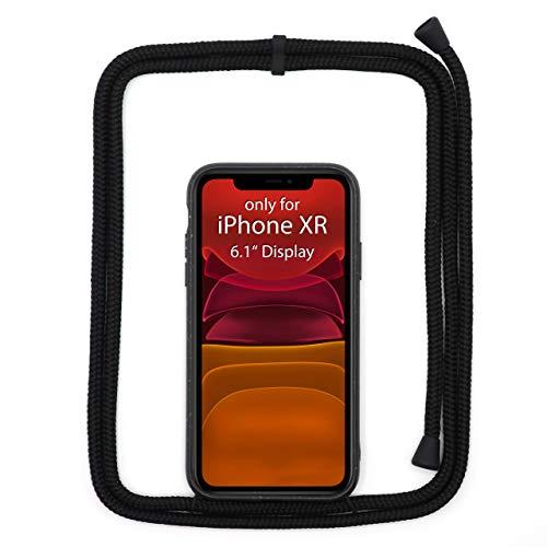 JOPE Handykette für iPhone XR Schwarz umweltfreundlich aus Bioplastik. Handy Hülle mit Verstellbarer Kordel. Smartphone Necklace Case mit Band zum umhängen. Nachhaltig und 100% kompostierbar.