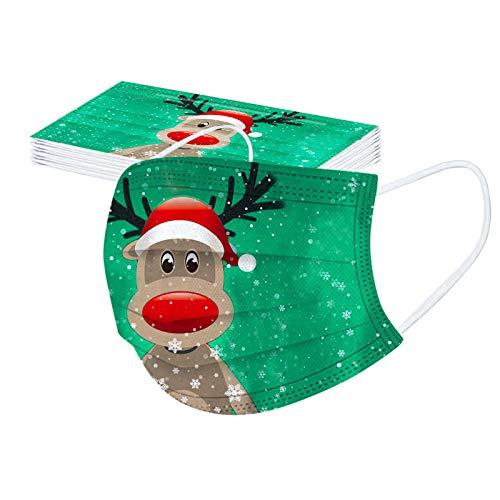 luoluoluo 20 Stück Erwachsene Einweg Mundschutz Weihnachten Lustige Druck Muster 3 Lagig bunt Mund und Nasenschutz Staubdicht Atmungsaktiv Multifunktionstuch Bandana Stoff Halstuch Schals