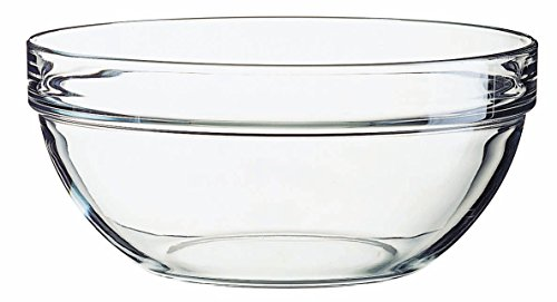 Luminarc Stackable Bowls Set with White Lids, STD, Clear