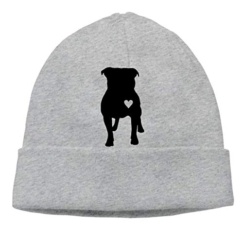 XCNGG Gorro de Punto Gorro de Lana Unisex Pitbull Heart Knitted Cap, Soft Skiing Cap