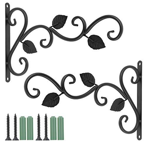 Fippy 2PCS Wandbehang Korbhalterungen, Eisen Pflanzen Kleiderbügel Wandhaken, Blumenampelhalter Pflanzenhalterung für Laternen Pflanzer Vogelhäuschen Windspiele