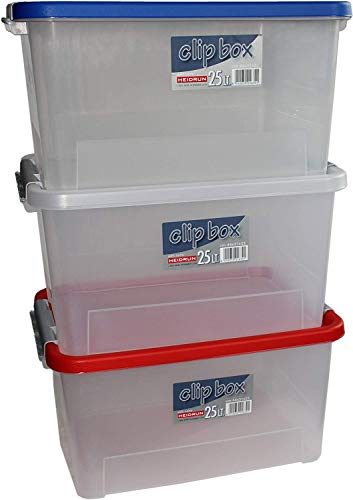 Heidrun 16703 Set Clipboxen 3 Stück Aufbewahrungsboxen, PP, Sonstige, 44 x 32 x 23 cm, 3
