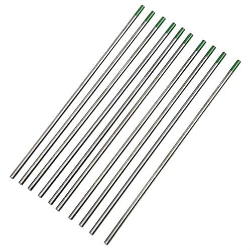 Varillas de soldadura 10 piezas 150 mm 1/1.6/2/2.4/3/3.2 mm electrodos de tungsteno soldadura TIG aguja de arco argón puro cabeza verde WP soldadura soldadura soldadura varilla (diámetro: 1,0 mm)