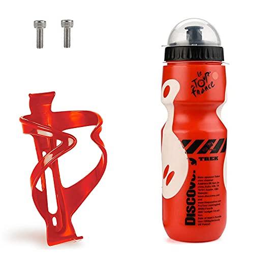 Portabotellas para Bicicleta, Botella para Bicicleta de 750 ml y portabotellas para Ciclismo, Adecuado para Bicicletas con Orificios para Tornillos.(Rojo)