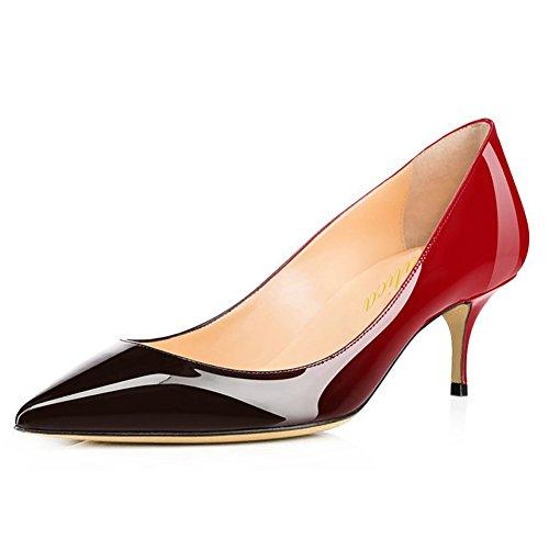 Lutalica Frauen Lackleder Spitzschuh Kitten Heel Hochzeit Kleid Schuhe Büro Pumps Schuhe Rot Schwarz Größe 41 EU