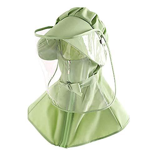 FEOYA Adulto Cappellino con Visiera Protettiva Cappello da a Falda Larga Estivo Regolabile Coperchio Pieno Volto Protettivo Scudo Adulto - Verde