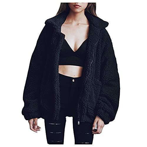 Wave166 Abrigo de invierno para mujer, de felpa, abrigo de invierno, chaqueta de entretiempo, chaqueta con capucha, con bolsillos, chaqueta clásica para mujer con capucha, Negro , L