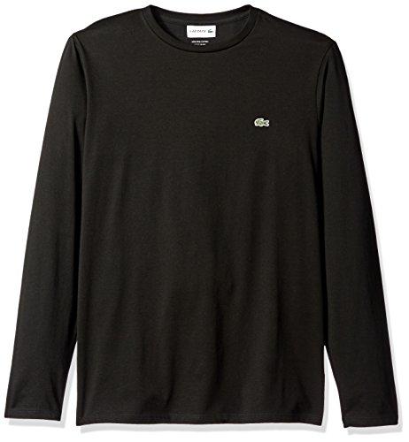 Lacoste Men's Long Sleeve Jersey Pima Regular Fit Crewneck T-Shirt, Black, L