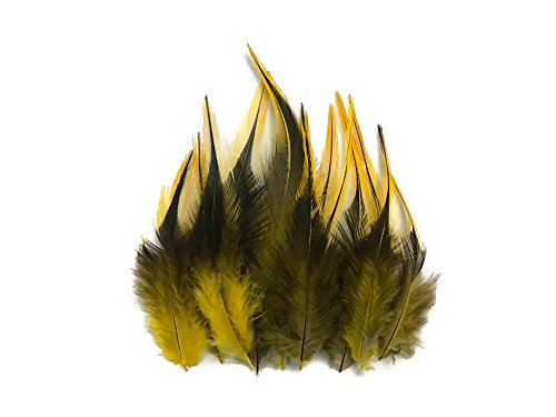 Moonlight Feather | 1 Dozen - Short Yellow Badger Rooster Hair Extension Feathers Whiting Saddle Fly Tying